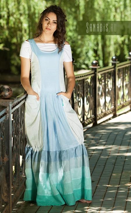 льняное платье Вода