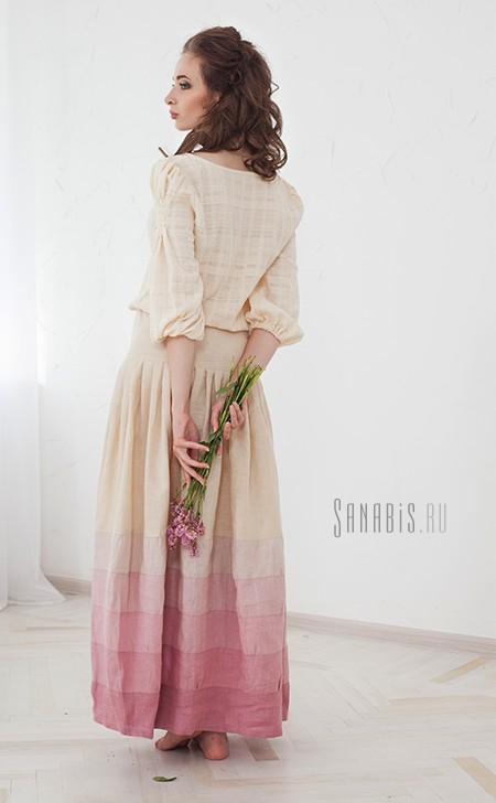 нежное льняное платье