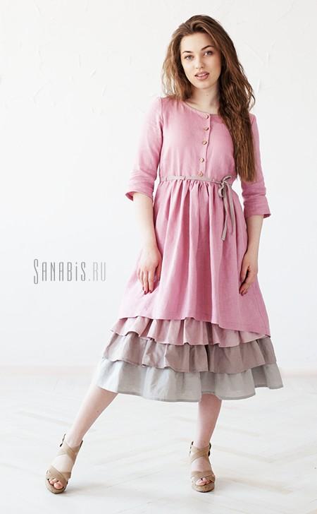 льняное платье пыльно-розового цвета