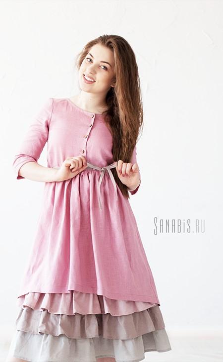 льняное платье с 3-мя воланами