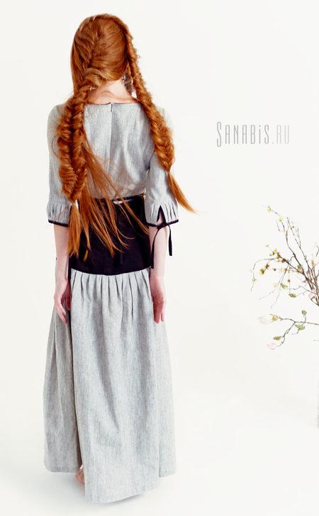 Чёрно-белое льняное платье