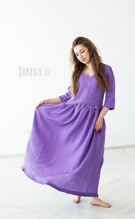 сиреневое льняное платье