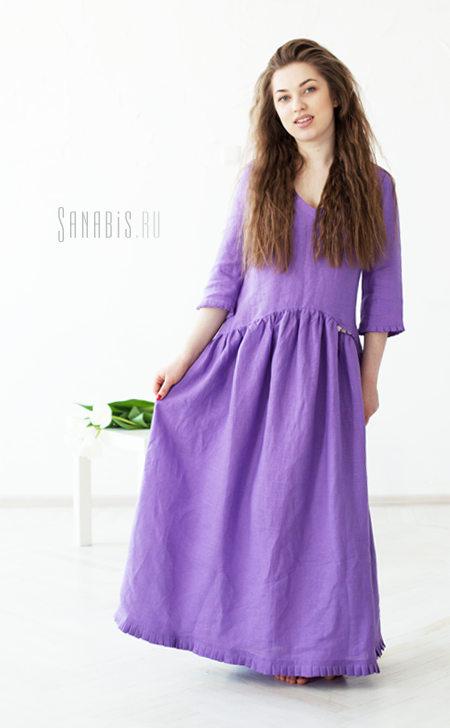 Льняное платье цвета цветущей сирени