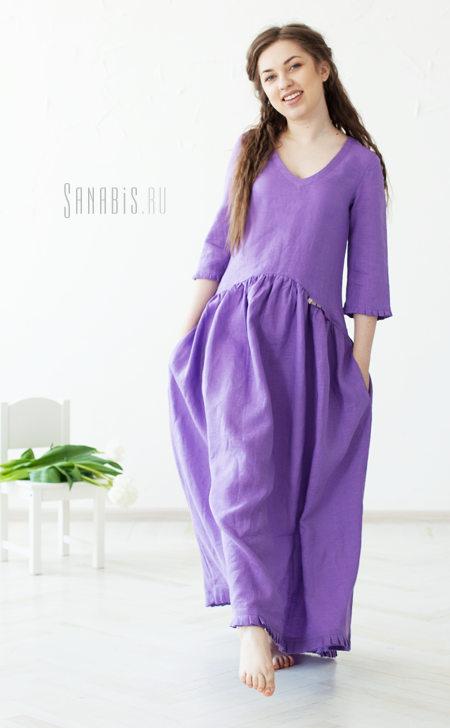 Льняное платье цвета сирени