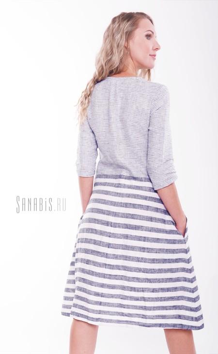 полосатое льняное платье
