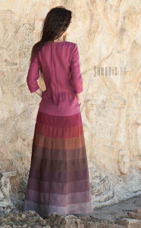 многоцветное льняное платье