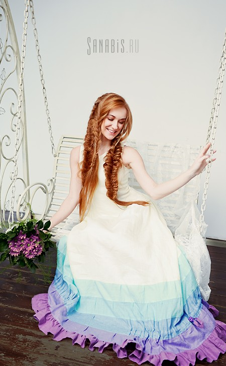 Льняное платье цвета лаванды