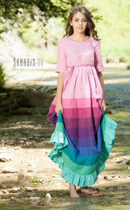 Льняное платье Карамель