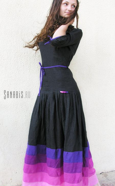 чёрное льняное платье
