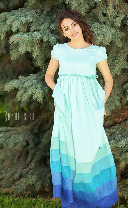 льняное платье Мятное
