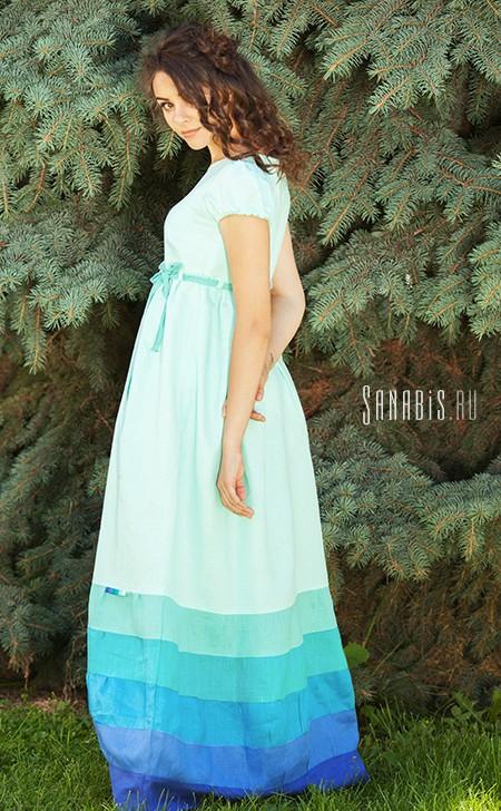 бирюзовое льняное платье
