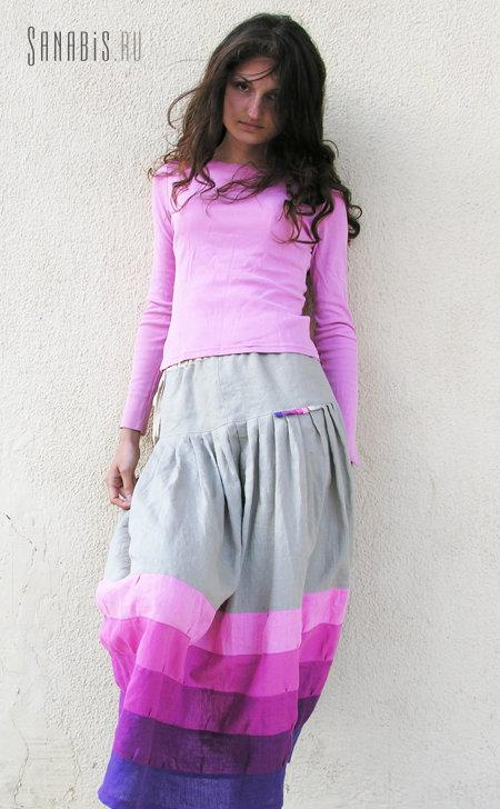 Купить Светло-серая льняная юбка ~ Sanabis