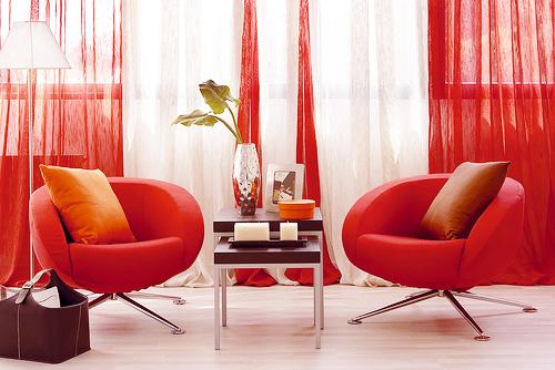 интерьер красного цвета.