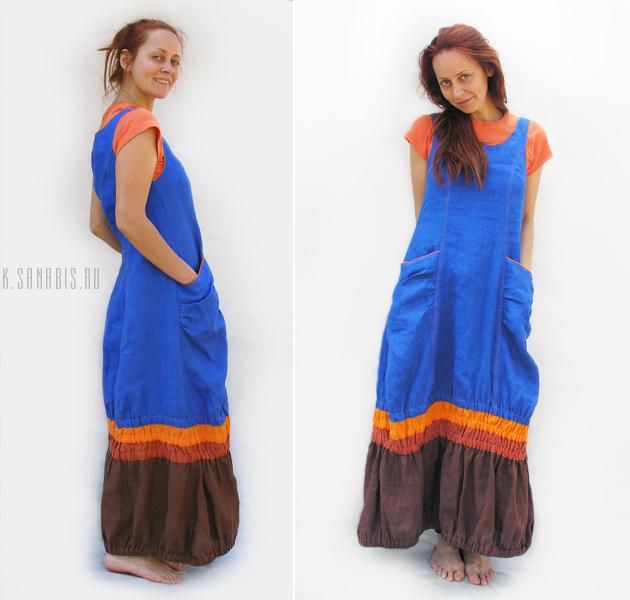 синее оранжевое платье