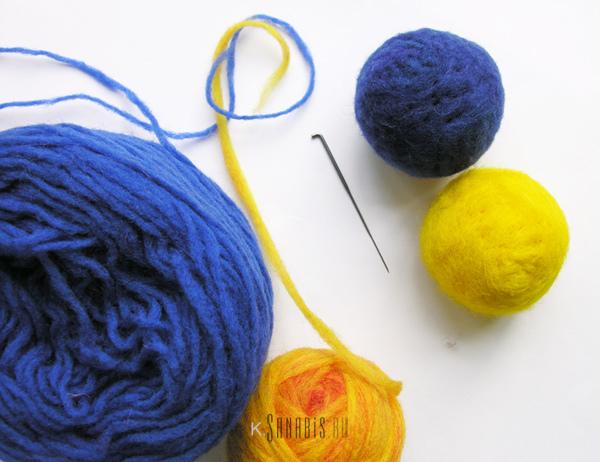 украшаем войлочный шарик