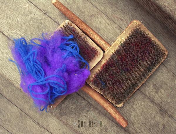 синяя ровница фиолетовая шерсть
