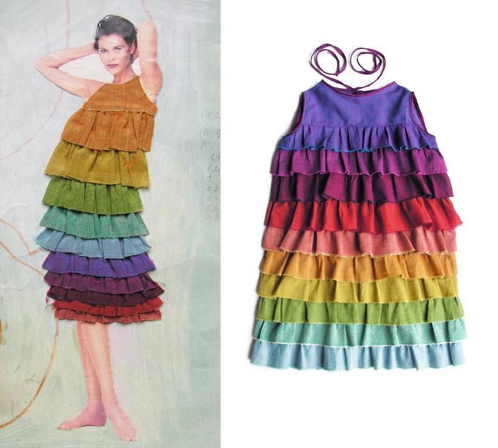 эскиз цветного платья